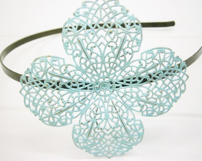 Pale Mint Patina Filigree Headband - Hair Accessory, Bridesmaid Gift, Family Pictures, Rustic Wedding Accessory, Wedding Hair Accessory