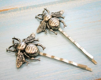 Bee Hair Pin Antique Silver, Bumble Bee Bobby Pins, Bumble Bee Hair Pins, Bee Hair Clips, Woodland Hair Clip, Wedding Hair Accessories