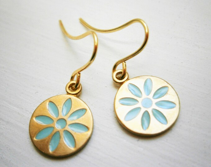 Pale Blue Daisy Vintage Style Brass Disc Charm Pendant On Gilt Plated French Earring Hooks/Dangle Earrings/Daisy Earrings/Bridal/Boho Style