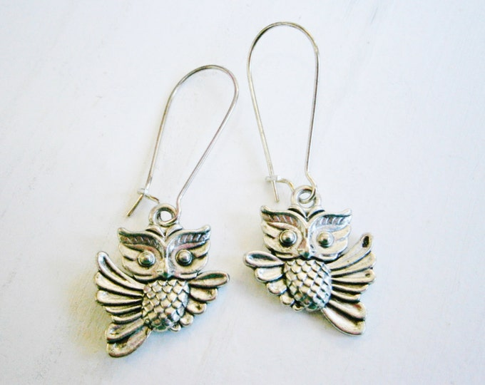 Antique Silver Owl On Stainless Steel Kidney Wire Earring Hooks/Dangle Earring/Boho Jewelry/Woodland Jewelry/Nature Inspired/Hypo allergenic