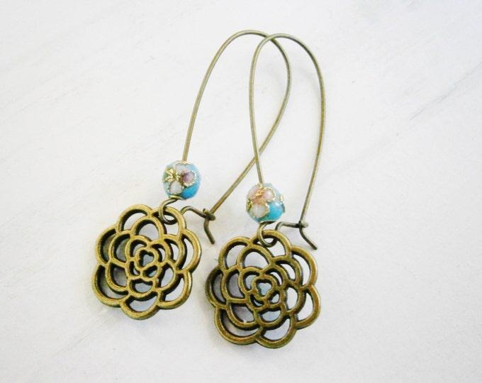 Blue Round Cloisonne Bead with Antique Bronze Filigree Flower On Long Antique Bronze Kidney Wire Earring Hooks/Dangle Earrings/Boho Jewelry