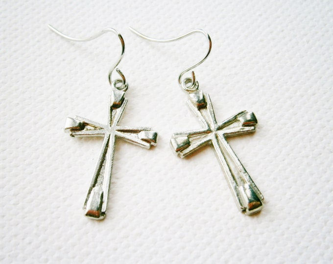Antique Silver Cross Hanging on Small Silver Earring Hook/Dangle Earrings/Silver Cross Earrings