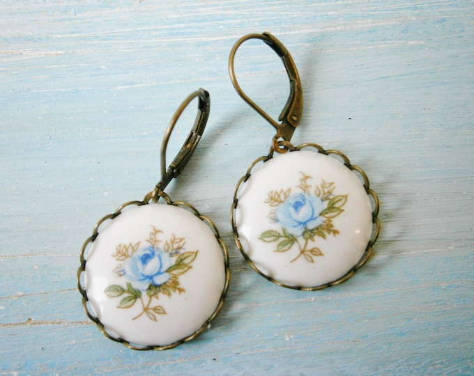 Vintage Style Blue Rose Cameo Dangle Earrings/Boho Earrings/ Victorian Style Earrings/ Shabby Chic Earrings/Cameo Earrings/Vintage Inspired