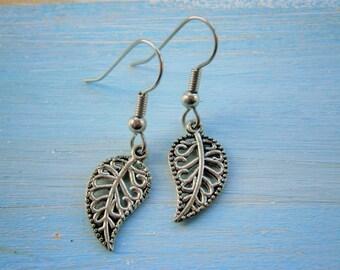 Antique Silver Mini Filigree Leaf Charm on Stainless Steel Earring Hooks/Dangle Earrings/Nature Earrings/Woodland Earrings/Hypo Allergenic