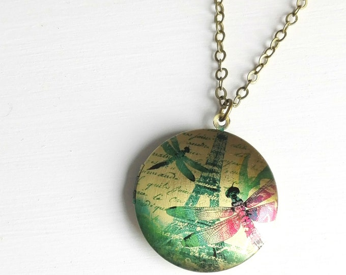 Eiffel Tower with Dragonflies Picture Locket Necklace/Antique Bronze Locket with detailed Photo of Eiffel Tower with Dragonflies/Necklace