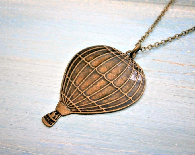 Antique Bronze Hot Air Balloon Charm Necklace/Boho Necklace/Bridesmaids Gifts/Charm Necklace/Steampunk Jewellery/Travel Necklace