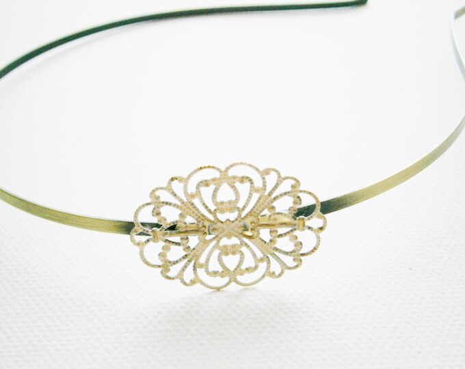 Antique Cream Patina Filigree Headband - Hair Accessory, Bridesmaid Gift, Family Pictures, Stocking Stuffer