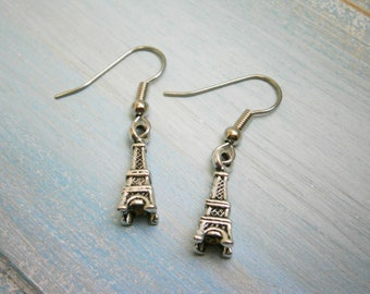 Antique Silver Mini Eiffel Tower Charm Dangle Earrings/Boho Earrings/Paris Earrings/Eiffel Tower Earrings/Dangle Earrings/Hypo-allergenic
