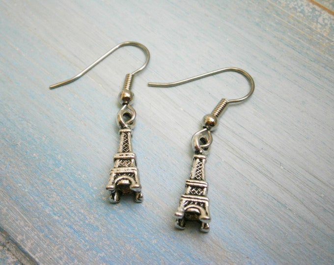 5f61a9197 Antique Silver Mini Eiffel Tower Charm Dangle Earrings/Boho Earrings/Paris  Earrings/Eiffel