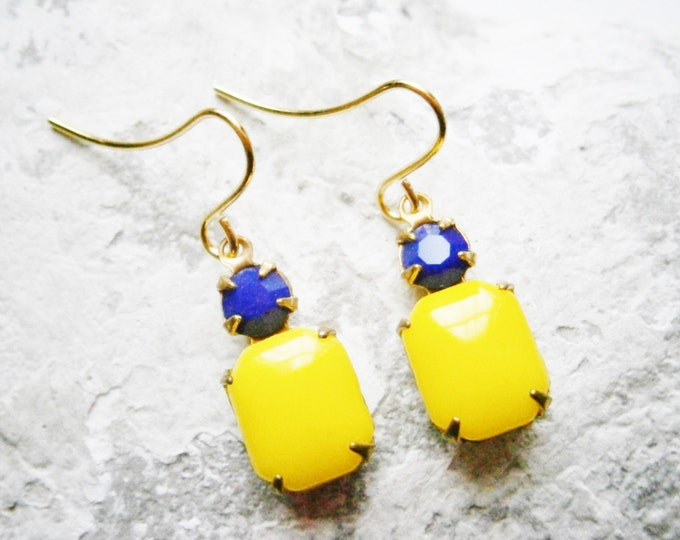 Vintage Glass Stones Lemon Yellow and Navy Blue set in Brass Prong Setting On Gilt Plated French Earring Hooks/Dangle Earrings