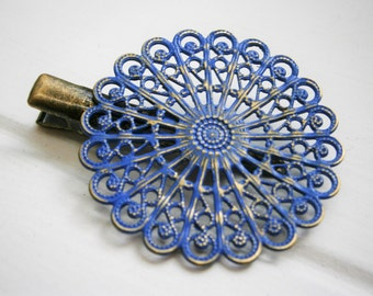 Cobalt Blue Hand Painted Patina Antique Bronze Round Filigree Shabby Chic Alligator Hair Clip/Boho Hair Clip/Rustic Hair Clip.