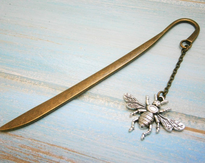 Bookmark with a Antique Silver Bumble Bee/Book Lover Bookmark/Bumble Bee Lover Bookmark/Bee Lover/Bookmarks for Books/Book Lover/Bookmark