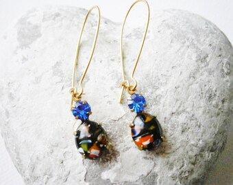 Vintage Glass Millefiori Black Oval Stone and Sapphire Glass Stone set in Brass Prong Setting On Gilt Kidney Wire Earring Hooks.