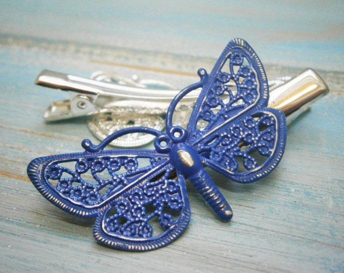 Cobalt Blue Hand Painted Patina Silver Plated Butterfly Filigree Shabby Chic Alligator Hair Clip/Boho Hair Clip/Rustic Butterfly Hair Clip.