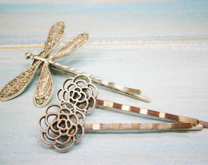 Antique Silver Plated Dragonfly & Filigree Flower Bobby Pin Set, Boho Hair Clip, Boho Hair Accessories, Wedding Hair Accessories, Hair Clips