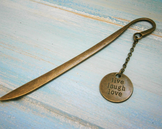 Bookmark with a Antique Bronze Live Laugh Love Disc/Book Lover Bookmark/Motivation Bookmark/Bookmarks for Books/Book Lover/Bookmark/Gift