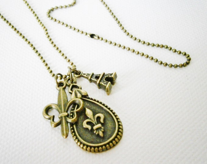 Antique Bronze Fleur de Lis Teardrop Necklace with Small Filigree Fleur de Lis and Tiny Eiffel Tower Charms/Boho Necklace/Paris Necklace