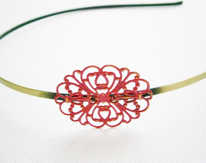 Hot Pink Patina Filigree Headband - Hair Accessory/Bridesmaid Gift/Family Pictures/Stocking Stuffer/Bohemian/Vintage Style/Shabby Chic