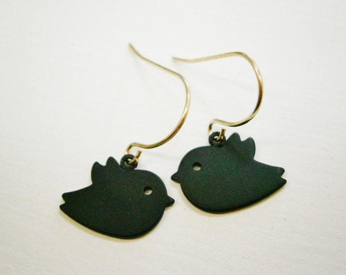 Matt Black Plated Bird Charm On Gold Plated French Earring Hooks/Dangle Earrings/Nature Earrings/Bird Earrings/Gold Earrings/Boho Earrings