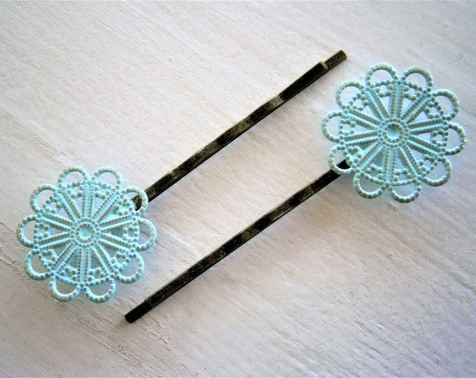 654992291 Mint Patina Large Filigree Daisy Antique Bronze Bobby Pins Set of 2/Hair  Clips/