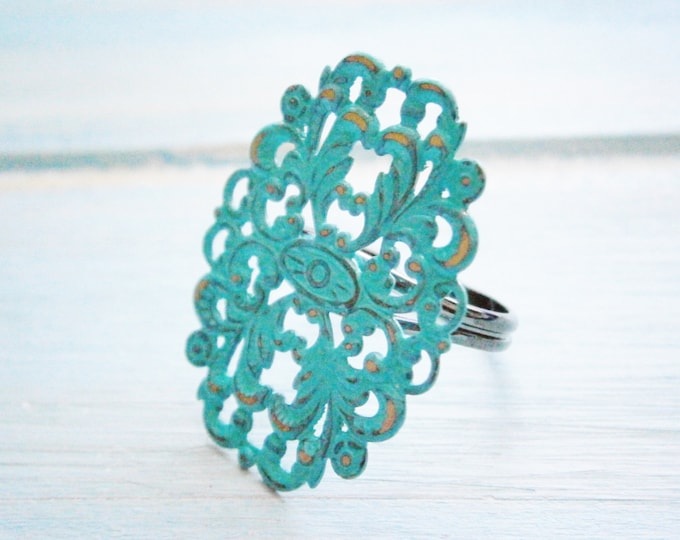 One Verdigris/Aqua/Turquoise Patina Large Filigree Adjustable Ring/Vintage Inspired/Shabby Chic Jewellery/Bohemian/Metal Ring/Filigree Ring