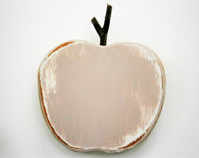 Vintage Pink Painted Wood Apple -Wall Art/Reclaimed Apple with a Shabby Chic/Rustic distressed finish/Home Decor/Rustic Decor/Shabby Chic.