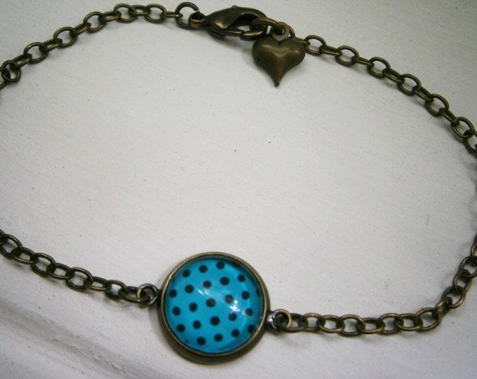 Blue & Black Polka Dot Antique Bronze Glass Dome Charm Bracelet/Boho Bracelet/Polka Dot Bracelet/Fashion Jewelry/Glass Dome Jewellery