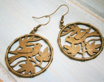 Antique Bronze Bird in Tree Charm Dangle Earrings/Boho Earrings/Nature Earrings/Tree Earrings/Dangle Earrings/Bird Earrings/Boho Jewellery