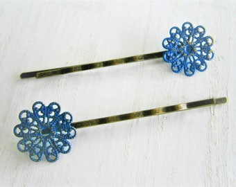 Cobalt Blue Patina Small Filigree Flower Antique Bronze Bobby Pins Set of Two/Hair Clips/Bohemian Hair Clips/Rustic Wedding/Bobby Pins
