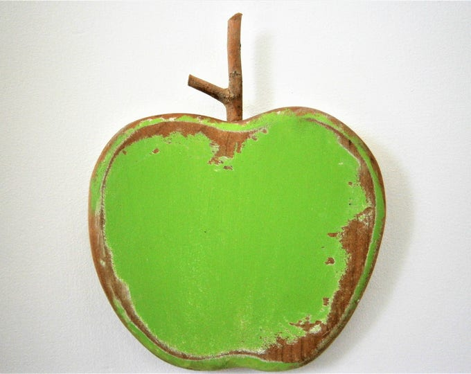 Lime Green Painted Wood Apple -Wall Art/Reclaimed Apple with a Shabby Chic/Rustic distressed finish/Home Decor/Rustic Decor/Shabby Chic.