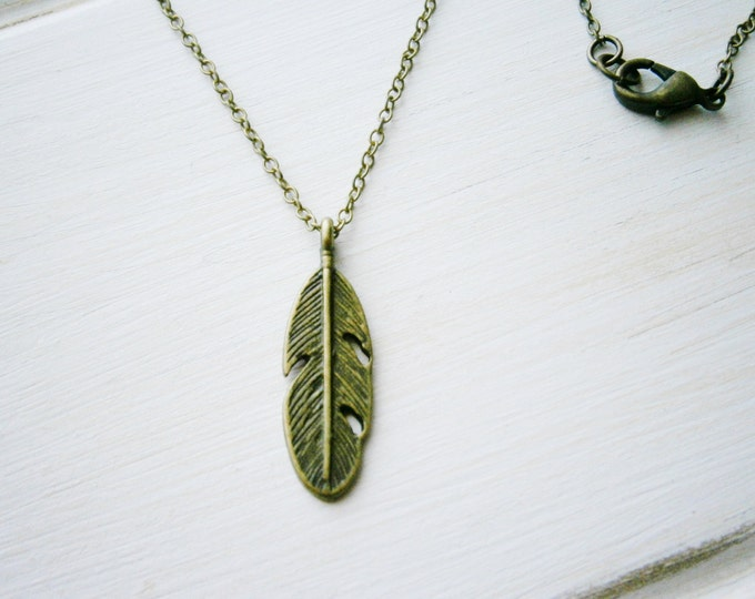 Antique Bronze Small Feather Necklace Charm/Boho Necklace/Nature Necklace/Woodland Necklace