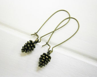 Small Antique Bronze Pinecone Charm On Antique Bronze Kidney Wires/Nature Inspired Earrings/Woodland Earrings/Nature Jewelry/Boho Jewellery