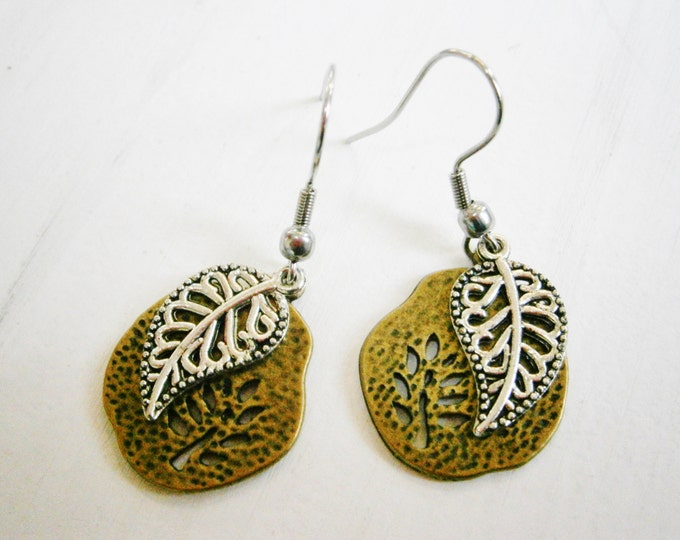 Antique Bronze Filigree Tree Fossil Charm/Antique Silver Filigree Leaf Charm On Stainless Steel Earring Hooks/Dangle Earrings/Boho Jewelry.
