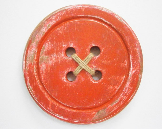 Featured listing image: Wood Button - Wall Art/Red Painted Large Button with a distressed Shabby Chic/Rustic finish/Love Sewing/Craft Room Decor.
