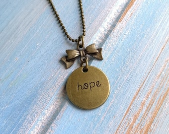 Hope Necklace/Antique Bronze Necklace with Antique Bronze Ribbon Bow Connector & Antique Bronze Hope Engraved Disc Charm Charm/Boho Necklace