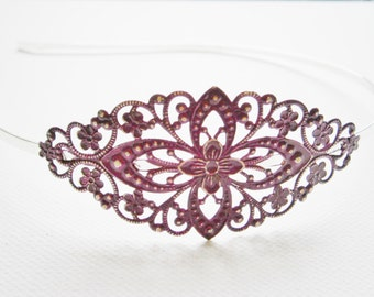 Purple/Orchid Patina Filigree Silver Headband - Hair Accessory, Bridesmaid Gift, Family Pictures, Stocking Stuffer