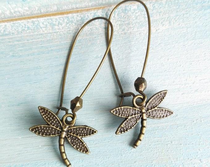 Antique Bronze Dragonfly On Antique Bronze Kidney Wire Earring Hooks/Dangle Earrings/Boho Jewelry/Woodland Jewelry/Nature Jewellery