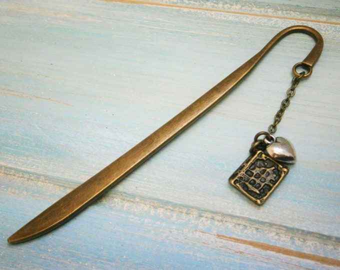 Bookmark with a Antique Bronze Book and Antique Silver Heart/Book Lover Bookmark/On To The Next Chapter Bookmark/Bookmarks for Books