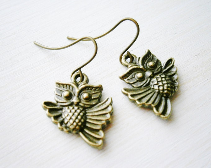 Antique Bronze Owl Charm On Antique Bronze French Earring Hooks/Dangle Earrings/Nature Earrings/Woodland Earrings.