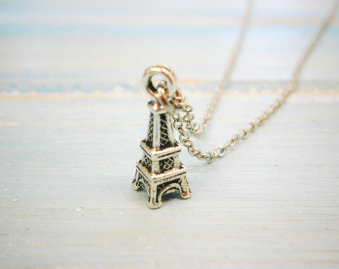 Antique Silver Mini Eiffel Tower Charm Necklace/Boho Necklace/Paris Necklace/Paris Jewellery/Dainty Necklace/Eiffel Tower Necklace