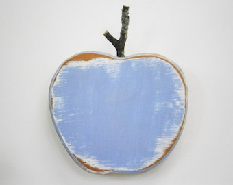 Chambray Painted Wood Apple - Wall Art/Reclaimed Apple with a Shabby Chic/Rustic distressed finish/Home Decor/Rustic Decor/Shabby Chic.
