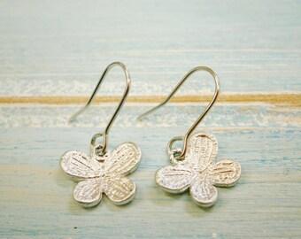 Matt Rhodium Plated Butterfly Pendant On Rhodium Plated French Earring Hooks/Dangle Earrings.