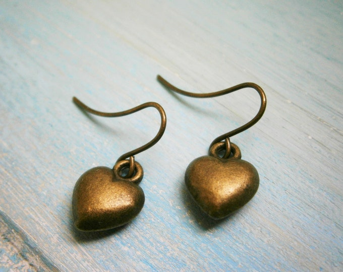 Antique Bronze Solid 3D Heart Charm On Antique Bronze French Earring Hooks/Heart Earrings/Romance Earrings/Steampunk Jewerly/Boho Earrings