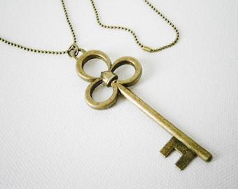 Antique Bronze Large Filigree Key Charm Pendant Necklace/Steampunk Necklace/Key Necklace/Long Necklace/Layering Necklace/Boho Jewelry