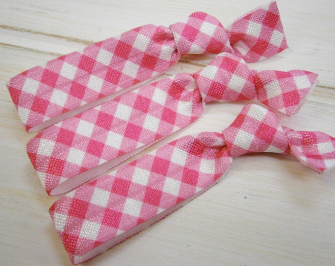 Pink Gingham - Set of 3 White & Pink Gingham Hair Ties by Crimson Rose Cottage/Boho Elastic Hair Tie/Boho Soft Bracelet
