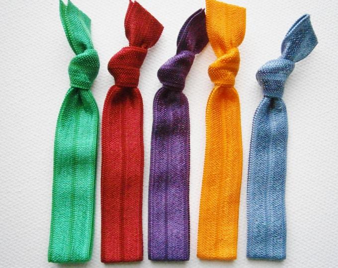 Skylar - Set of 5 Solid Color Hair Ties by Crimson Rose Cottage/Boho Elastic Hair Tie/Boho Soft Bracelet