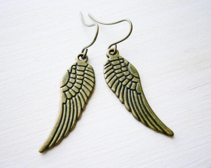 Angel Wing Antique Bronze Charm On Antique Bronze French Earring Hooks/Dangle Earrings.