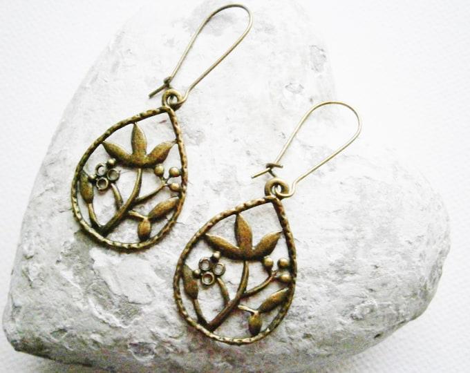 Antique Bronze Filigree Tree Branch In Tear Drop Charm Pendant On Antique Bronze Kidney Wire Earring Hooks/Dangle Earrings/Boho Earrings