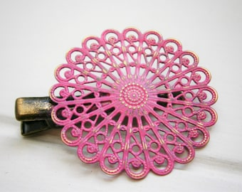 Hot Pink Hand Painted Patina Antique Bronze Round Filigree Shabby Chic Alligator Hair Clip/Boho Hair Clip/Rustic Hair Clip.