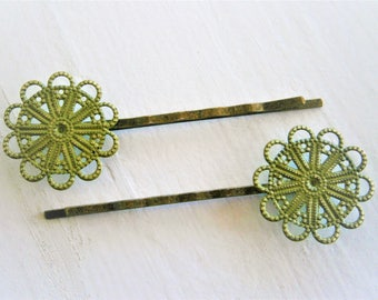 Olive Green Patina Large Filigree Daisy Antique Bronze Bobby Pins Set of 2/Bohemian Hair Clips/Shabby Chic Hair Clips/Rustic Wedding